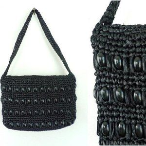 Vintage Purse Straw 1980s Large Beads Small Black
